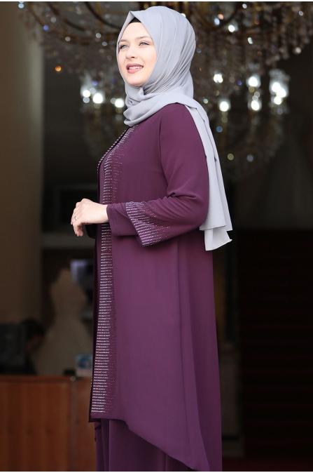 Gül Tesettür Abiye Elbise - Mor - Amine Hüma