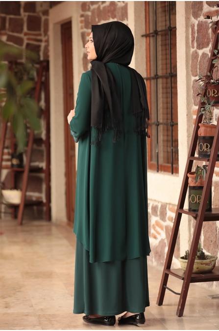 Gül Tesettür Abiye Elbise - Zümrüt - Amine Hüma