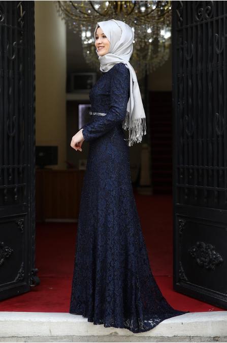 Hayal Abiye  - Lacivert - Amine Hüma