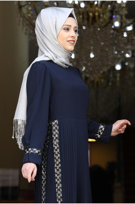 Mina Tesettür Abiye - Lacivert