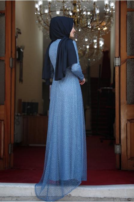 Petek Tesettür Abiye -  Bebe Mavisi