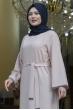 Aksa Büyük Beden Tesettür Abaya Elbise - Vizon