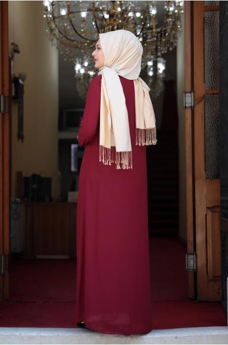 Aslı Büyük Beden Tesettür Elbise - Bordo