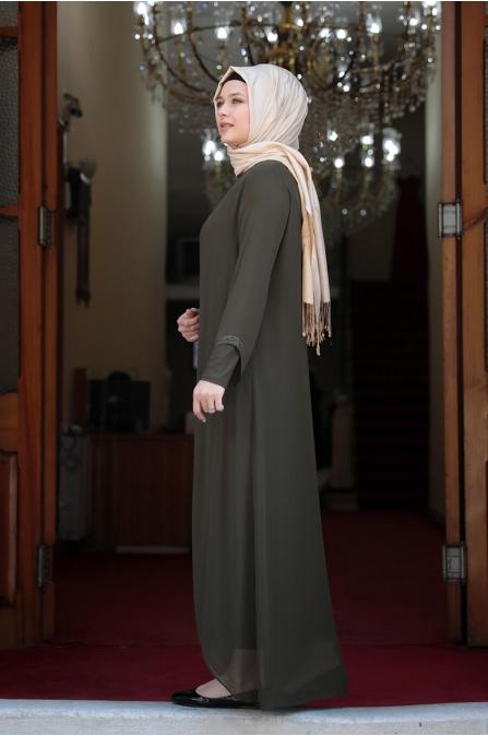 Aslı Büyük Beden Tesettür Elbise - Haki