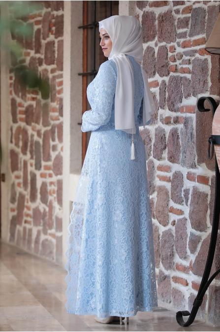 Büyük Beden Elbise - Bebe Mavisi - Amine Hüma