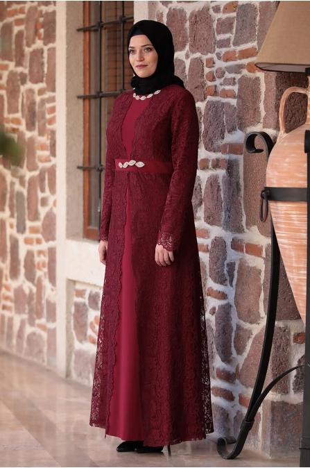 Büyük Beden Elbise - Bordo - Amine Hüma