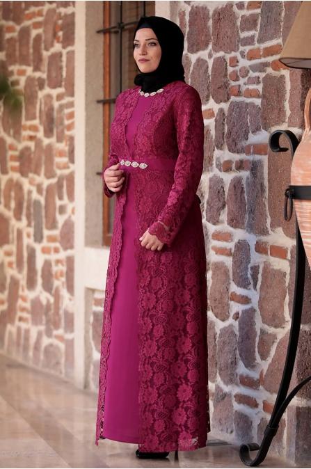 Büyük Beden Elbise - Fuşya - Amine Hüma