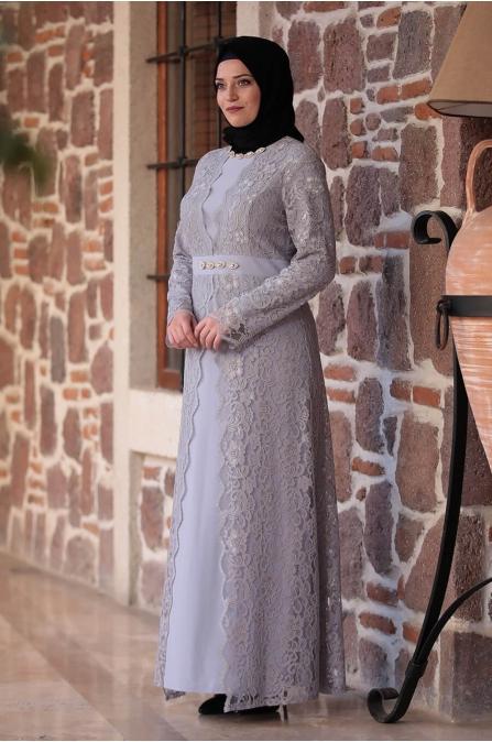 Büyük Beden Elbise - Gri - Amine Hüma