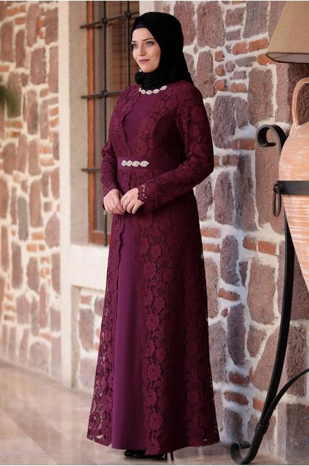 Büyük Beden Elbise - Mürdüm - Amine Hüma