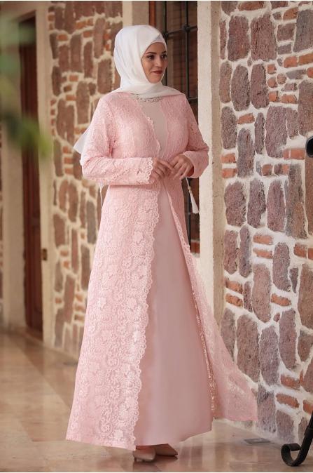Büyük Beden Elbise - Pudra - Amine Hüma