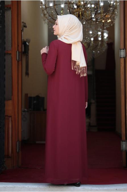 Esma Büyük Beden Tesettür Elbise - Bordo
