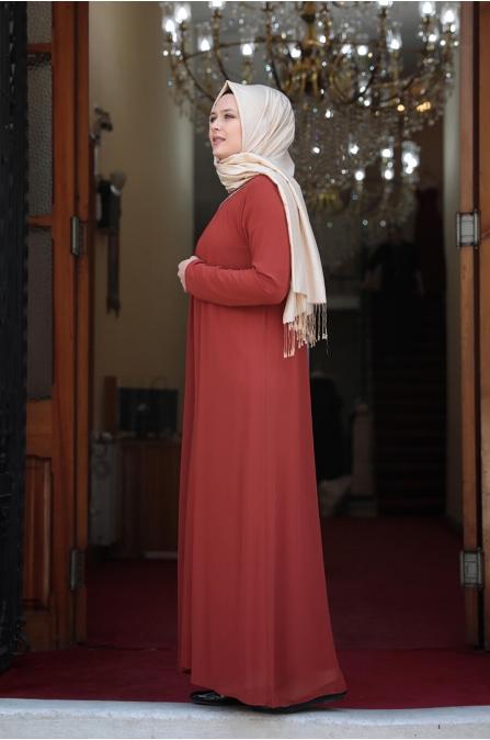 Esma Büyük Beden Tesettür Elbise - Kiremit