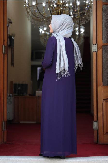 Esma Büyük Beden Tesettür Elbise - Mor