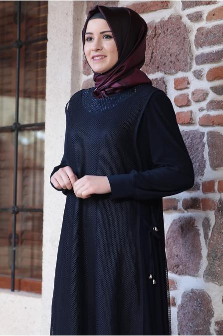 Fileli Elbise - Lacivert - Amine Hüma