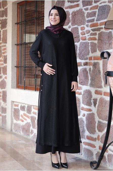 Fileli Elbise - Siyah - Amine Hüma