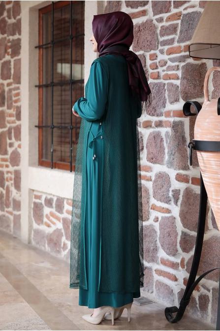 Fileli Elbise - Zümrüt - Amine Hüma
