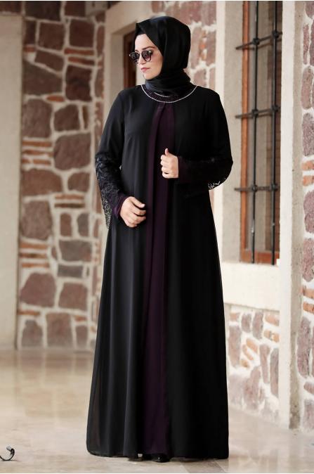 Kolu Dantelli Elbise Mor - Amine Hüma