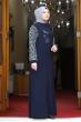 Kolları Leopar Desenli Elbise - Lacivert