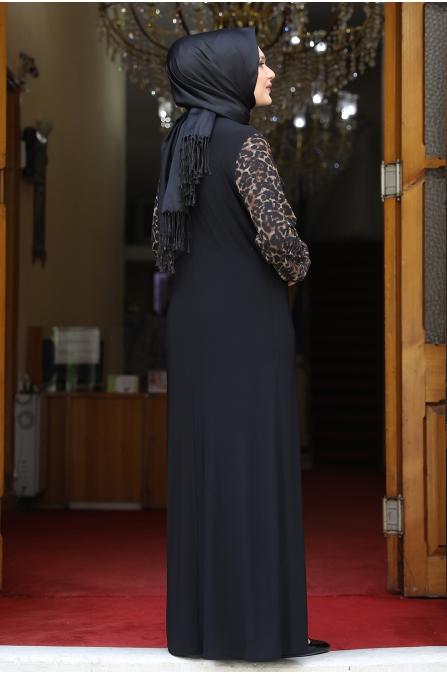 Kolları Leopar Desenli Elbise - Siyah