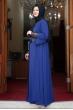 Önü Pul Payet Büyük Beden Tesettür Elbise - Lacivert