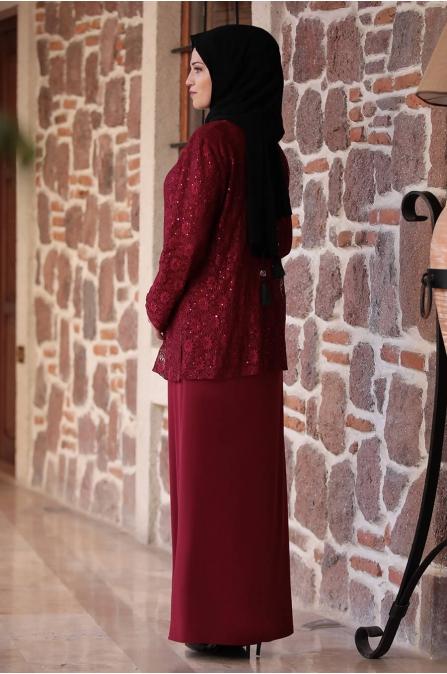 Sultan Büyük Beden Elbise - Bordo - Amine Hüma