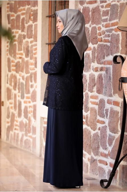 Sultan Büyük Beden Elbise - Lacivert - Amine Hüma