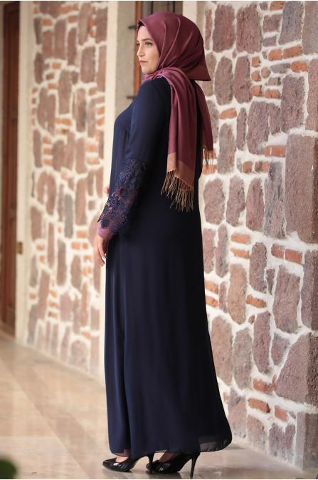 Amine Hüma - Kolu Dantelli Elbise - Gül Kurusu