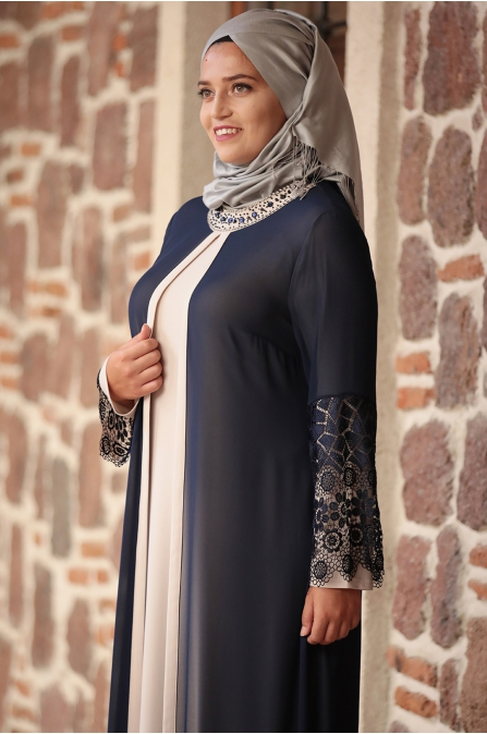 Amine Hüma - Kolu Dantelli Elbise - Krem