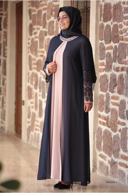 Amine Hüma - Kolu Dantelli Elbise - Pudra