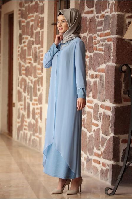 Amine Hüma - Parıltı Anne Elbise - Bebe Mavisi