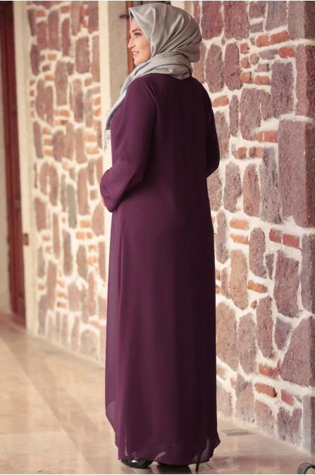 Amine Hüma - Parıltı Anne Elbise - Mürdüm