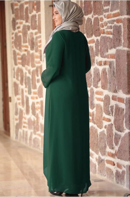 Amine Hüma - Parıltı Anne Elbise - Zümrüt