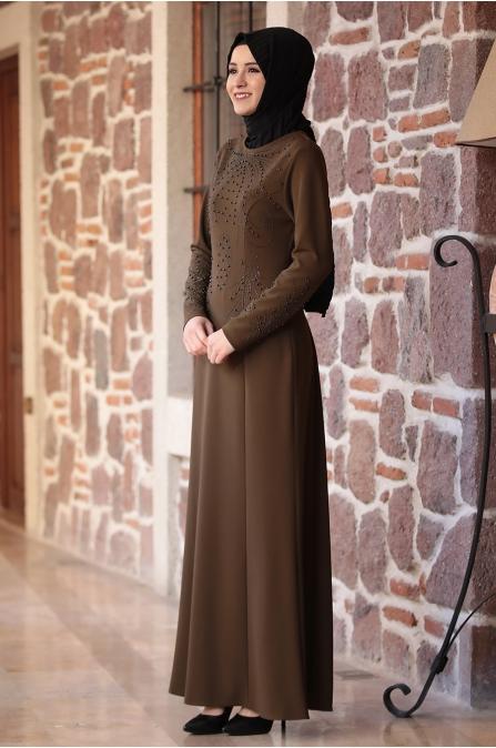 Açelya Elbise Kahve - Amine Hüma