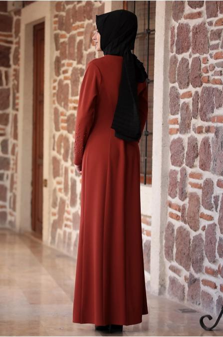 Açelya Elbise Kiremit - Amine Hüma