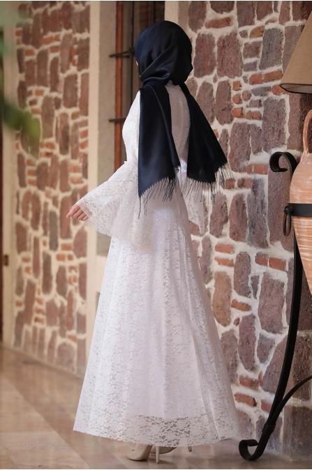 Afra Dantelli Elbise - Ekru - Amine Hüma