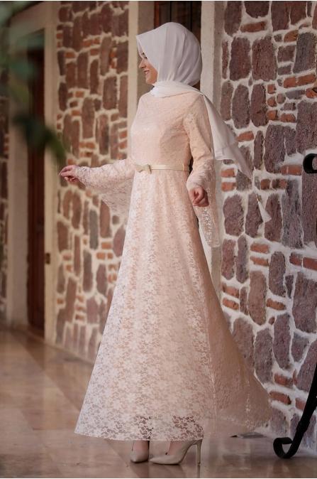 Afra Dantelli Elbise - Pudra - Amine Hüma