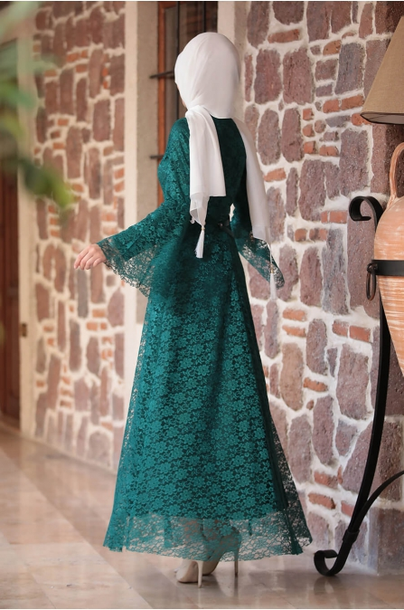 Afra Dantelli Elbise - Yeşil - Amine Hüma