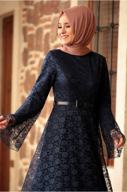 Afra Elbise Lacivert - Amine Hüma