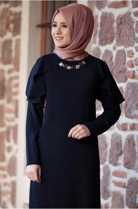 Ahenk Elbise Lacivert - Amine Hüma