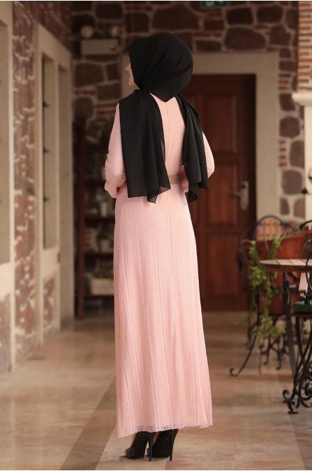 Ahu Dantelli Elbise - Pudra - Amine Hüma