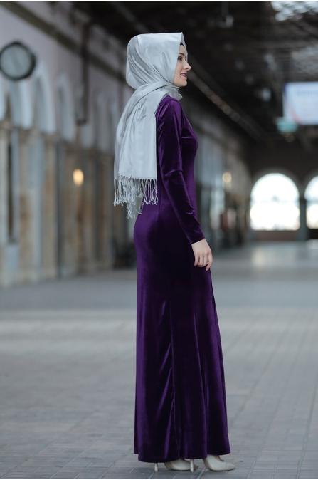 Asil Kadife Elbise  - Mor - Amine Hüma