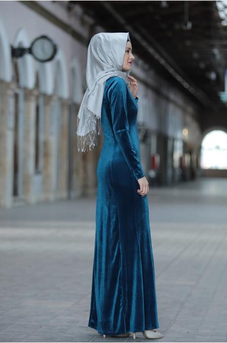 Asil Kadife Elbise  - Petrol - Amine Hüma