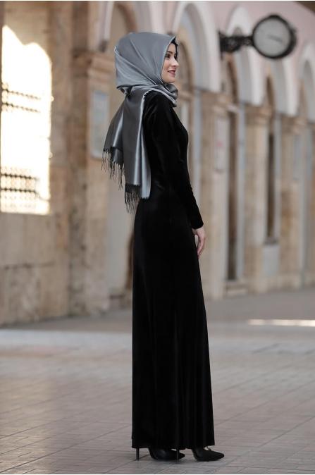 Asil Kadife Elbise  - Siyah - Amine Hüma