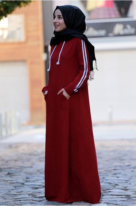 Berrak Elbise - Bordo - Amine Hüma