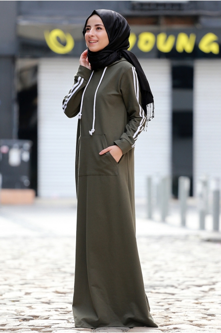 Berrak Elbise - Haki - Amine Hüma