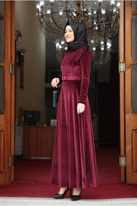 Simli Kadife Tesettür Elbise - Bordo