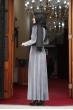 Simli Kadife Tesettür Elbise - Gri