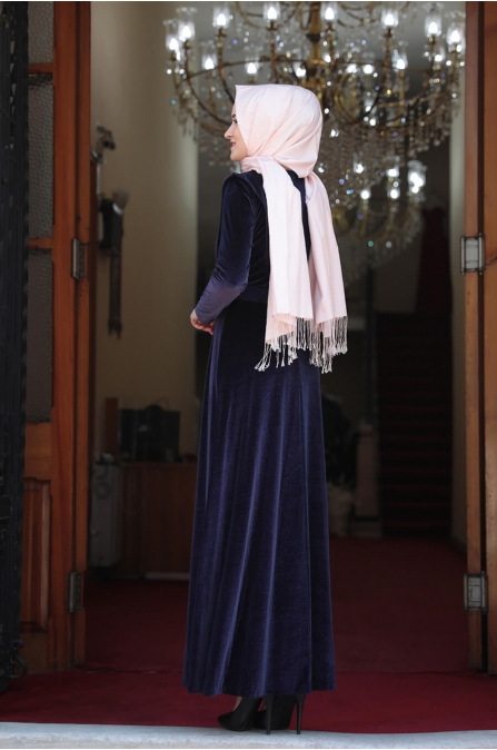 Simli Kadife Tesettür Elbise - Lacivert