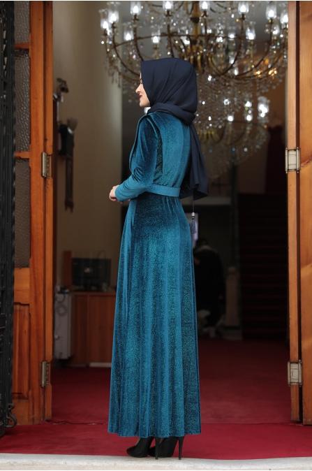 Simli Kadife Tesettür Elbise - Petrol