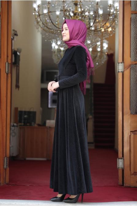 Simli Kadife Tesettür Elbise - Siyah